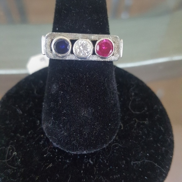 Hellmut Cordes Jewelry - Sterling silver patriotic ring red white blue